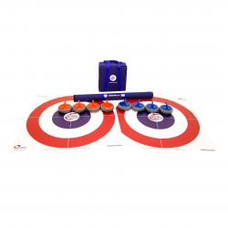 Two FloorCurl target mats laid beside one another. On top of the mats are eight FloorCurl stones (four red and four blue), a carrying case for the Target Mats with a nylon strap, and a carrying case for the stones with a nylon strap.