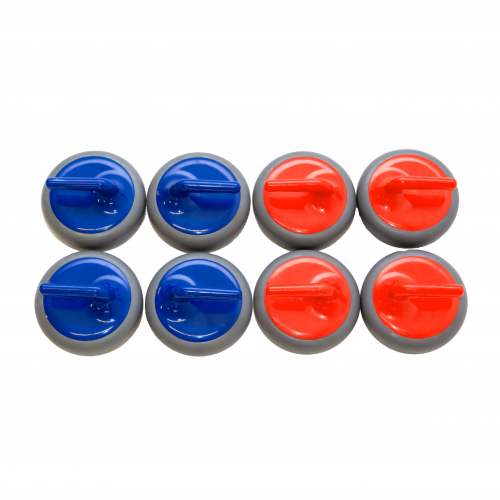 An overhead view of eight FloorCurl stones. There are four blue stones and four red stones on a white background.