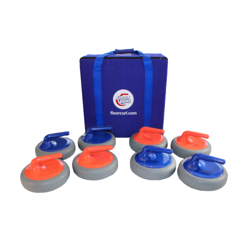 Eight FloorCurl stones with carrying case. There are four red stones and four blue stones. The carrying case for the stones has a nylon strap.