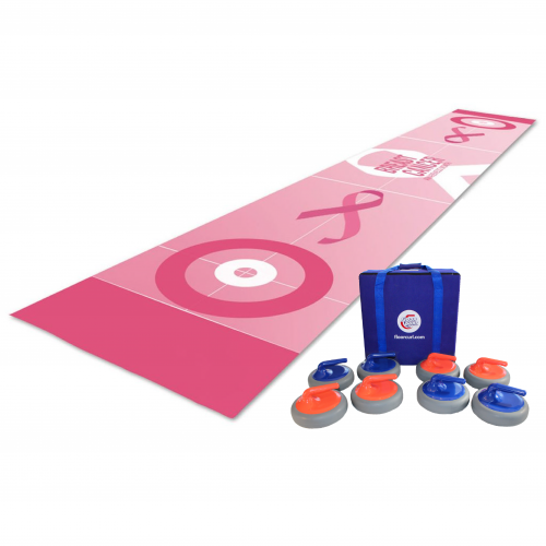 A FloorCurl full rink mat with customized printing and colours in pink and white with Breast Cancer Awareness logos. Beside the mat is a set of eight FloorCurl stones with a carrying case for the stones.