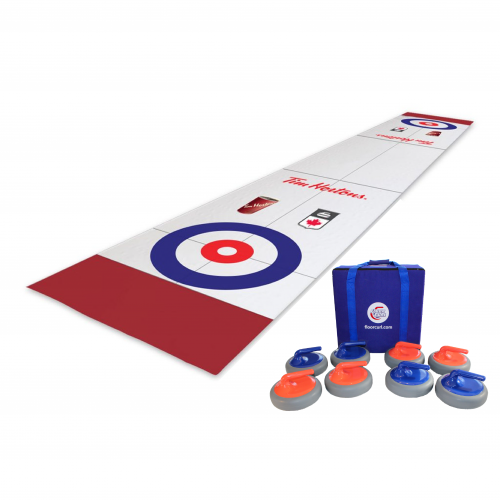 A FloorCurl full rink mat with customized printing and logos for Tim Hortons and Curling Canada. Beside the mat is a set of eight FloorCurl stones with a carrying case for the stones.
