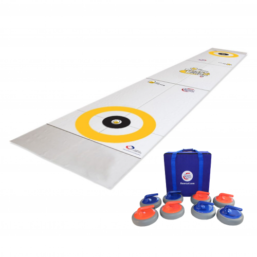A FloorCurl full rink mat with customized printing and colours in yellow and white with logos. Beside the mat is a set of eight FloorCurl stones with a carrying case for the stones.