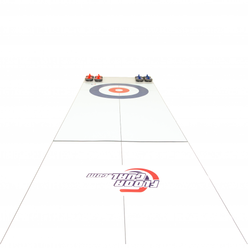 A zoomed-out image of the length of a FloorCurl Full Rink Mat with a set of blue and red stones.