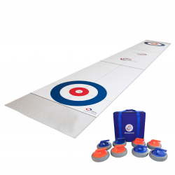 A FloorCurl full rink mat with a set of FloorCurl stones and carrying case for the stones.